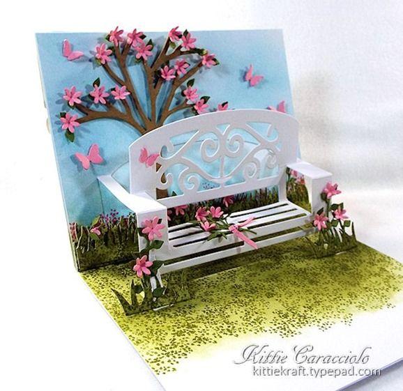 Kittie Caracciolo using the Pop it Ups Garden Bench and All Seasons Tree dies by Karen Burniston for Elizabeth Craft Designs.