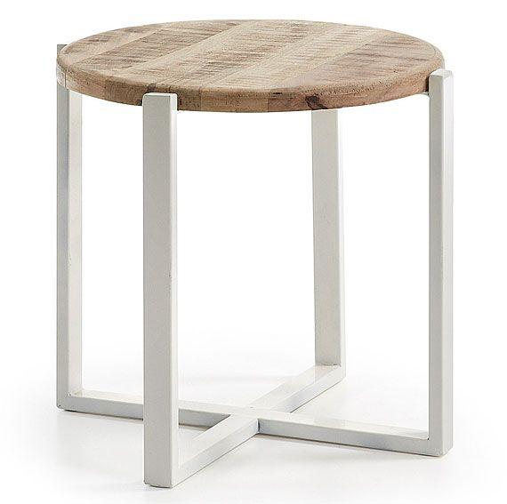 Mesa de rincon Vintage Mawenzi   Material: Forja o Hierro   Mueble realizado con estructura de hierro blanco y sobre madera de mango en acabado natural... Eur:176 / $234.08