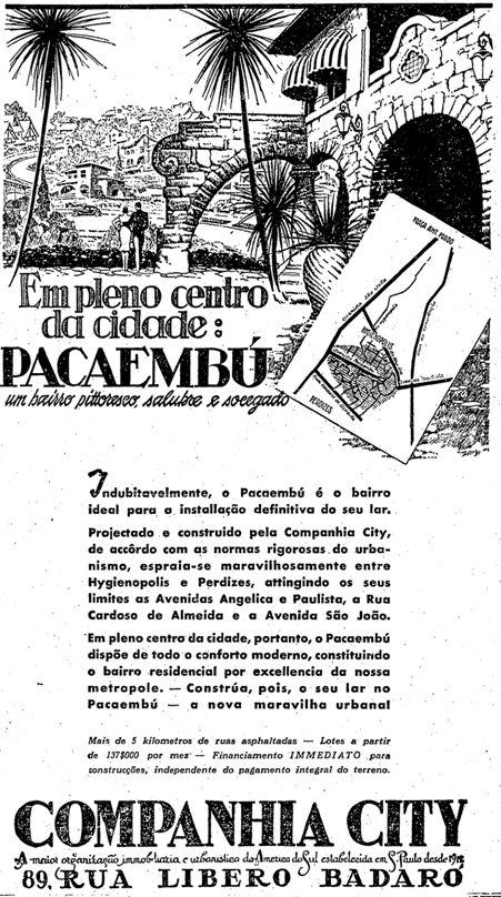 Anúncio do bairro do Pacaembu, da Companhia City publicado dia 21 de janeiro de 1938