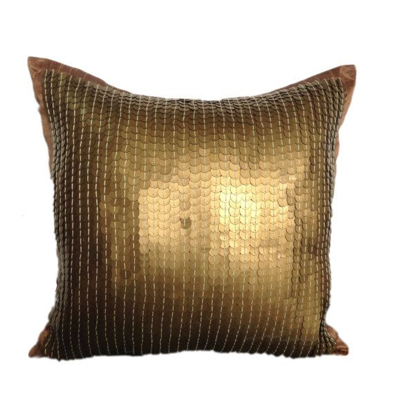 Gold Sequins Pillow, Gold Decorative pillow, Sequins decorative pillow, Gold floor pillow, 18x18 pillow, gold couch toss, gold throws