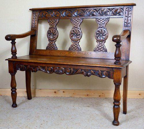 Victorian Carved Oak Bench - Antiques Atlas