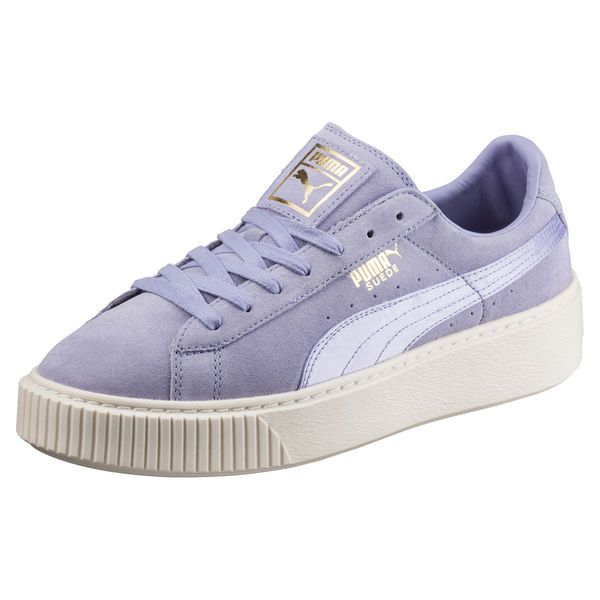 Basket Suede Platform Satin pour femme, Sweet Lavender-Whisper White-Puma Team Gold, medium