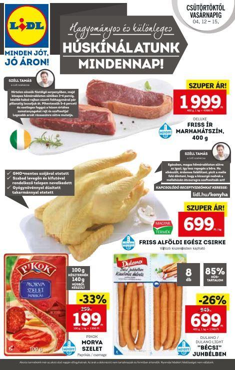 LIDL Akciós Újság 2018. 04.12-04.18-ig: Ír marhahátszín, Alföldi egész csirke, Bécsi virsli, Pikok szalámi és még sok akciós ajánlat ebben a 48 oldalas Lidl katalógusban.
