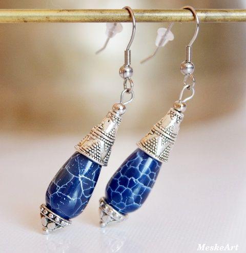 Kék achát csepp fülbevaló, nikkelmentes (MeskeArt) - Blue Agate earring - Nausnice Achat #achatfulbevalo #kekachat #agateearring #nausniceachat #achatekszer #agatejewellery