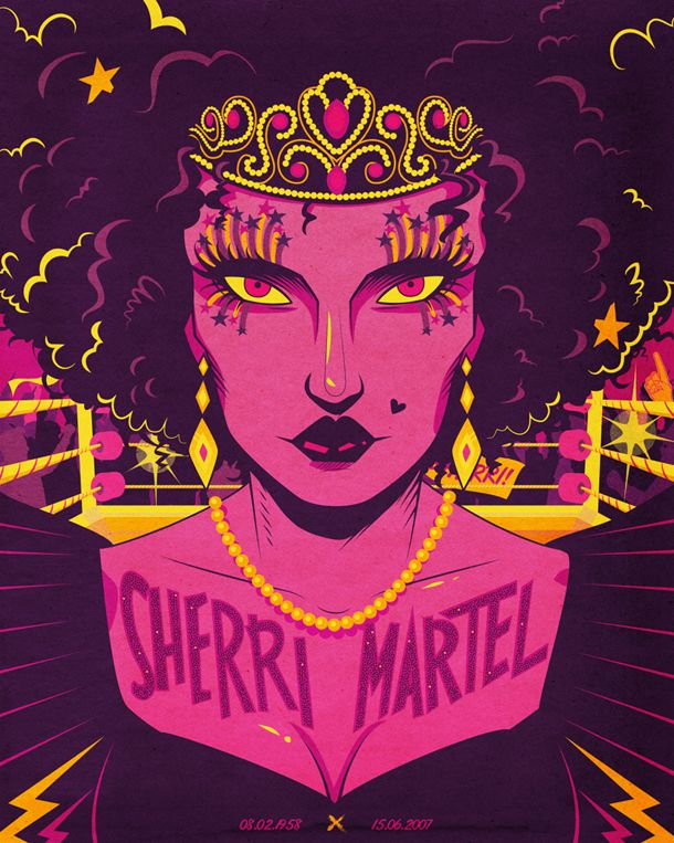 """Sherri Martel design from """"The Dead Wrestlers Society"""" posters by British design boutique I Love Dust."""