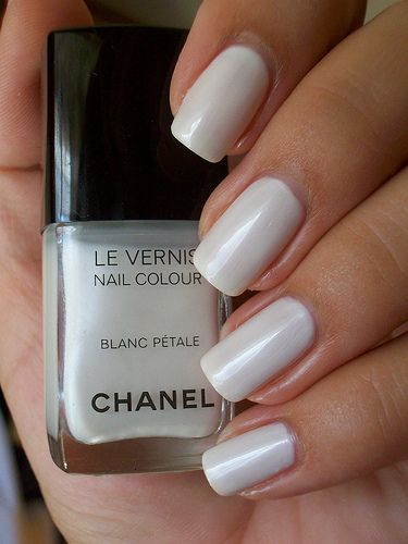 Sheer white chanel nail polish. A total flip from color to light. :)