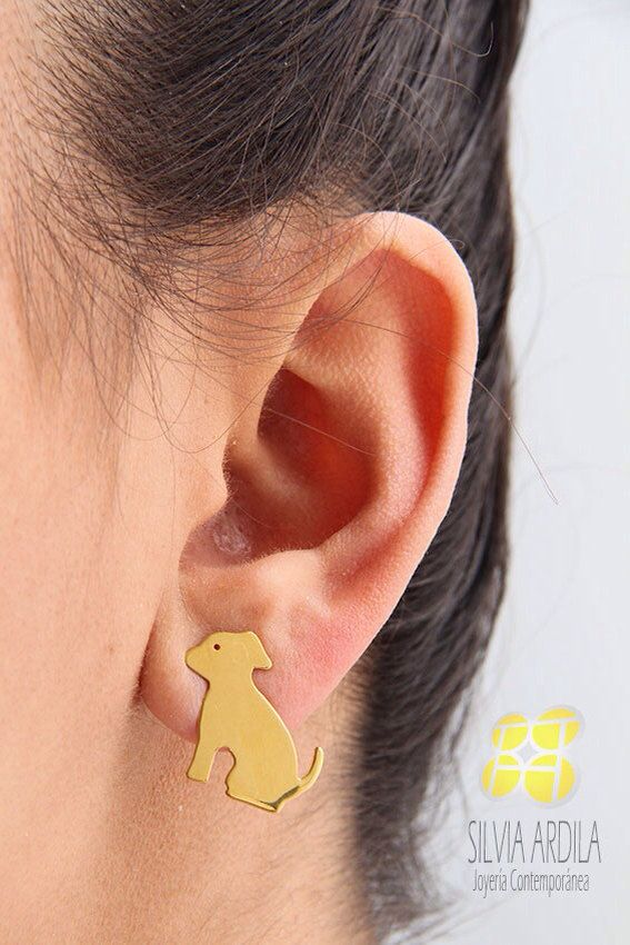 AN02 Dog Goldplated brass Post #Earrings. by SilviaArdilaJoyeria, $18.50 #Jewelry #Gift #AnimalJewelry