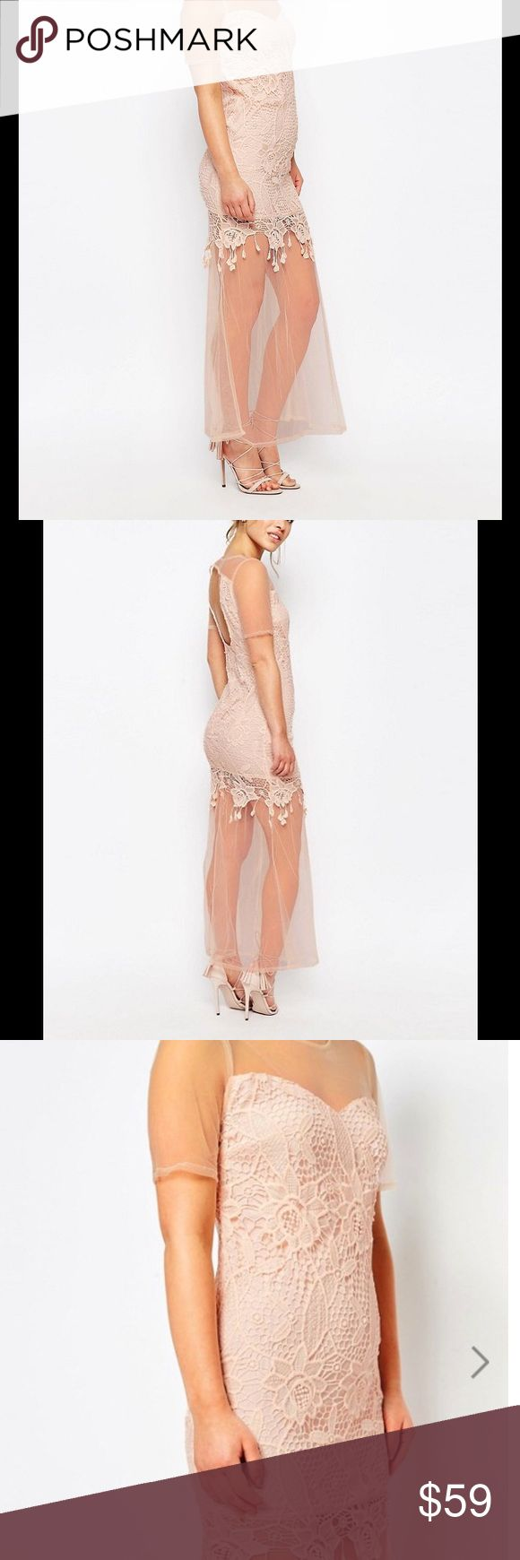 Maya Petite Maxi Dress With Lace Body & Sheer Hem Color is peach/nude color. So gorgeous!! Maya Dresses Maxi