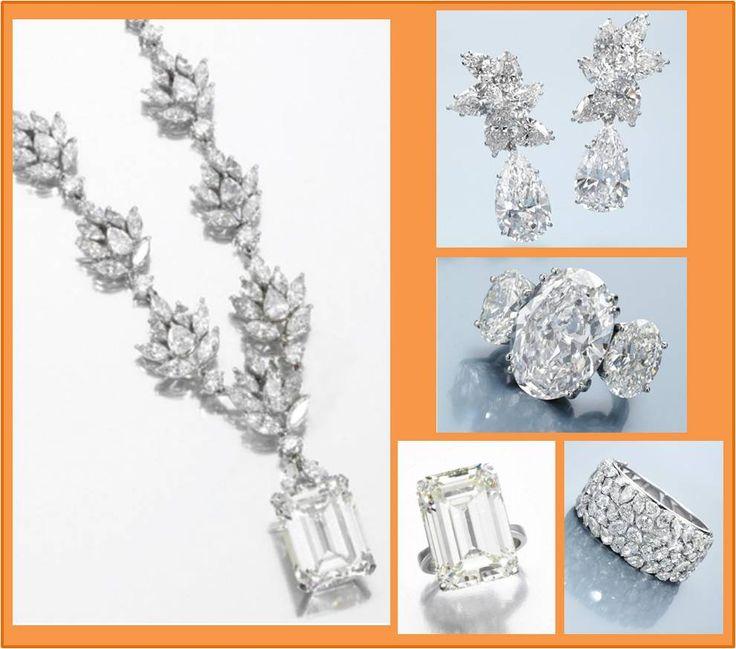 Alguns exemplos da espetacular coleção de joias de D. Lily - colar com diamantes (o central em lapidação degrau pesa 21,46 quilates) em platina; brincos com diamantes (os pingentes em lapidação pera são destacáveis e pesam 11,08 e 11,66 quilates) em platina; anel com 3 diamantes (o central pesa 13,06 quilates) em platina, da Natan; bracelete com diamantes em lapidações variadas em ouro branco e platina, da Natan; anel com diamante de 23,76 quilates