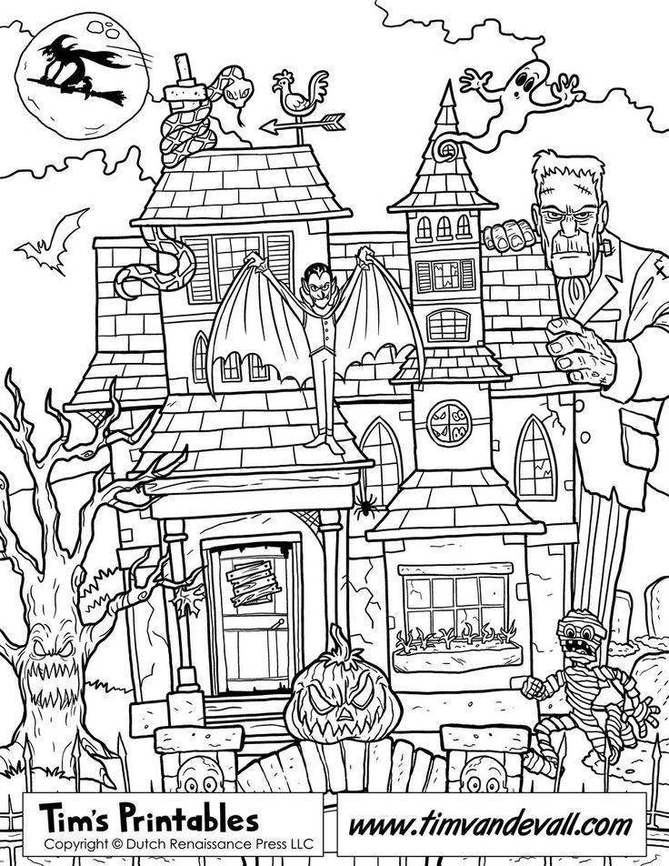 Free Haunted House Coloring Page Printable For Kids Coloring