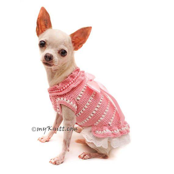 Baby Pink Dog Clothes Lace, Lace Dog Dress, Hand Crochet Dog Dress ...
