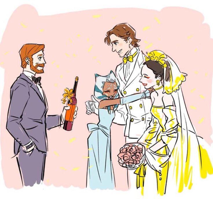 I can imagine obiwan being his best man and ahsoka being a bridesmaid! Ahhhhhhhh sooo cuuute!