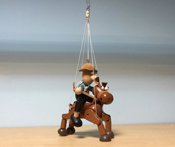 Wooden hanging mobile Lucky the Horse Cowboynursery