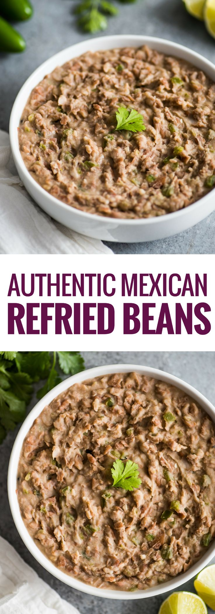 How to make Authentic Mexican Refried Beans on the stovetop or in the slow cooker with only a few simple ingredients. The perfect side dish to any Mexican meal!