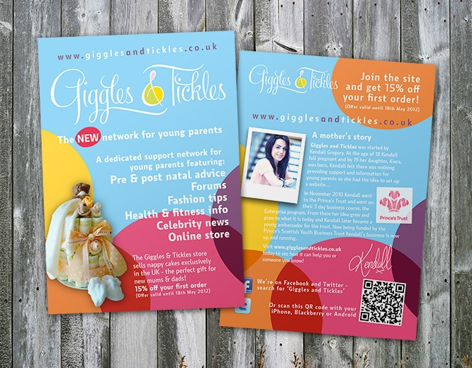 Identity and flyer for Giggle & Tickles