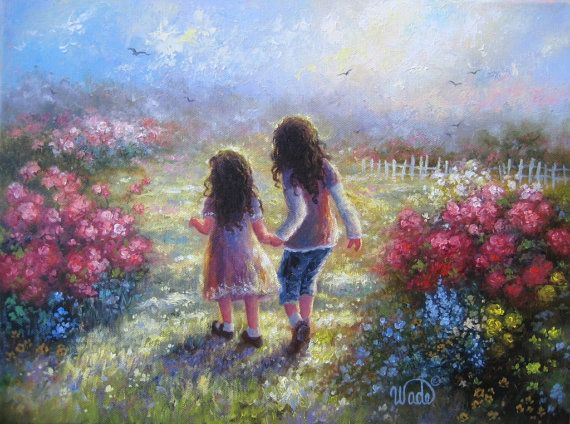 Garden Sisters Print from Oil Painting two by VickieWadeFineArt, $26.00