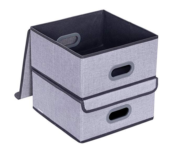 Homyfort 2 Stuck Oxford Faltbox Mit Deckel Faltbare Aufbewahrungsbox Stoffbox Grau Leinen 30 X 40 X 25 Cm Xclb2l Amazon D Aufbewahrungsbox Aufbewahrung Falten