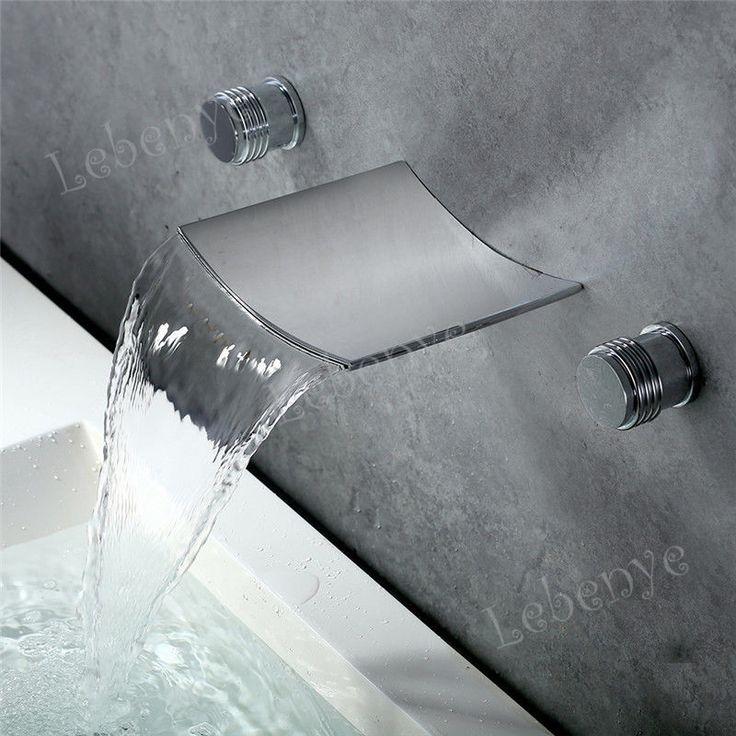 Design Unterputz Mischbatterie Wasserhahn Wasserbecken Badarmatur Wasserfall Neu…