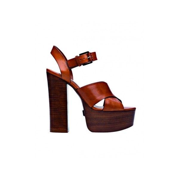 Speciale Scarpe sandali con tacco di legno dal mood anni 70 per... ❤ liked on Polyvore featuring shoes
