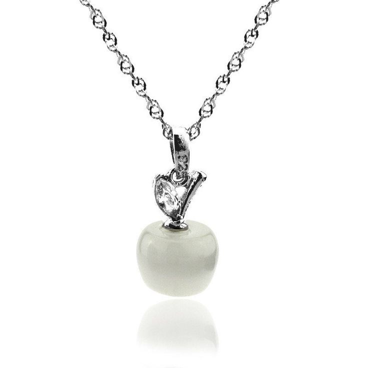 New Style Opal Cat Eye Silver Plated Apple Necklace Pendant for Women Girls 2016 Fashion Long Chain Necklace