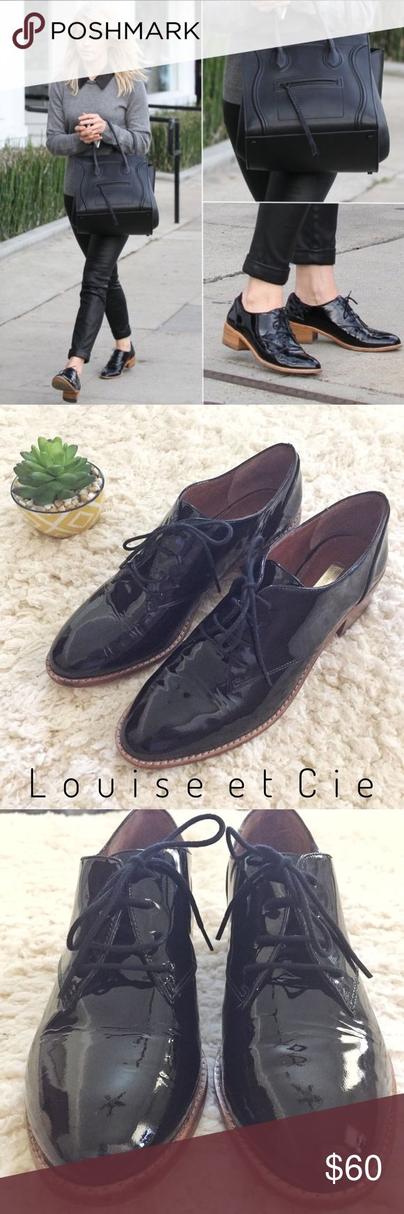 """•Louise et Cie• Black Patent Oxford Fernanda These gorgeous patent leather oxfords from Louise Erdrich Cie (by Vince Camuto) are in EUC and feature a lace-up closure and slight 2"""" heel (approximate). Only worn once. Add flare to any outfit! Bundle and save on shipping! Louise et Cie Shoes"""