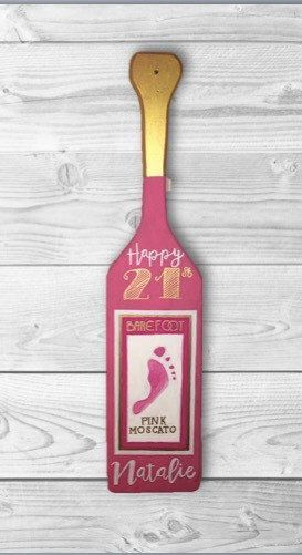 Sorority 21st Birthday Barefoot Wine Paddle by FivePointCo on Etsy