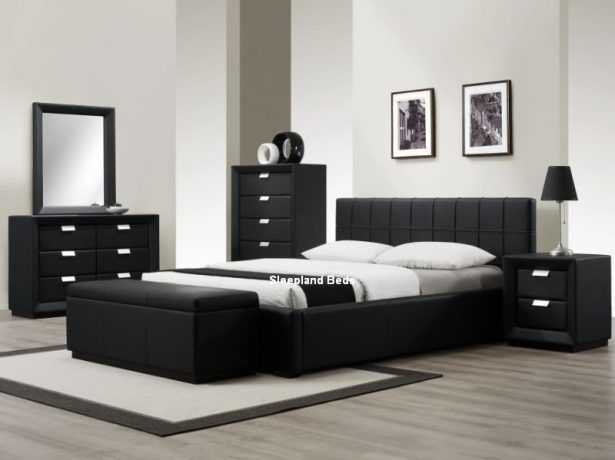 Bedroom Contemporary Black Bedroom Furniture Sleepland Rossi Black Leather Bed White Bedroom Furniture Black Bedroom