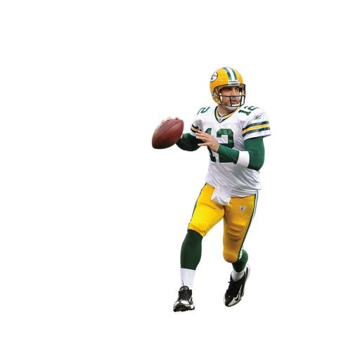 Aaron Rodgers Away Uniform Wall Mural Aaron Rodgers fans here's your chance to see Aaron Rodgers larger than life. At 6′ 6″ tall, the huge Aaron Rodgers Fathead wall mural puts the Packer quarterback right in the room with you. Click on the image for pricing, availability and product details. …