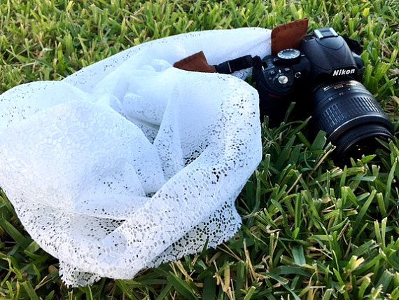 White lace scarf camera strap  for Nikon door andalittlebitofstuff