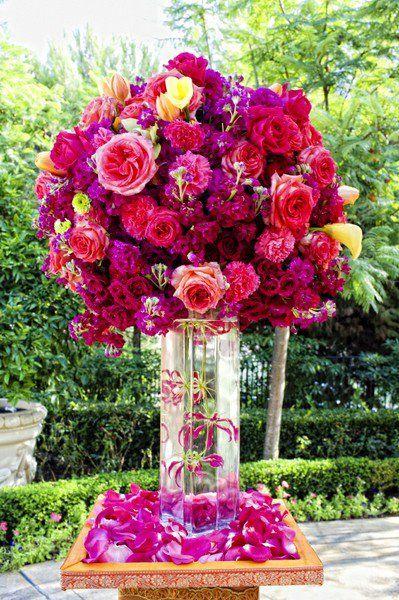 31 best wedding purple pink images on pinterest casamento deep purple and red wedding floral arrangement mightylinksfo