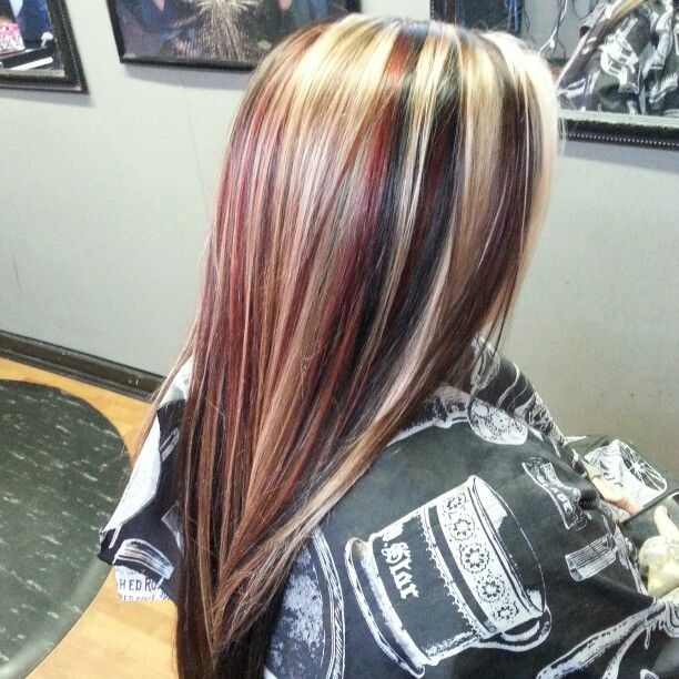 Red Blonde And Black Highlights Lowlights Hair Color Long Straight