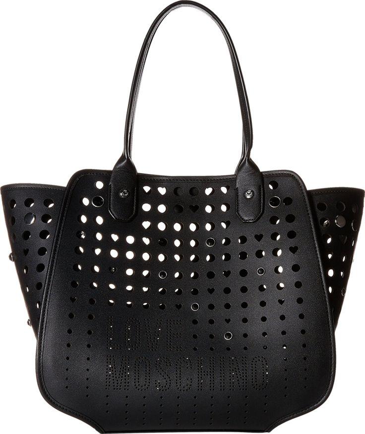 LOVE Moschino Perforated Tote Black Tote Handbags. 8661446. Handbag.