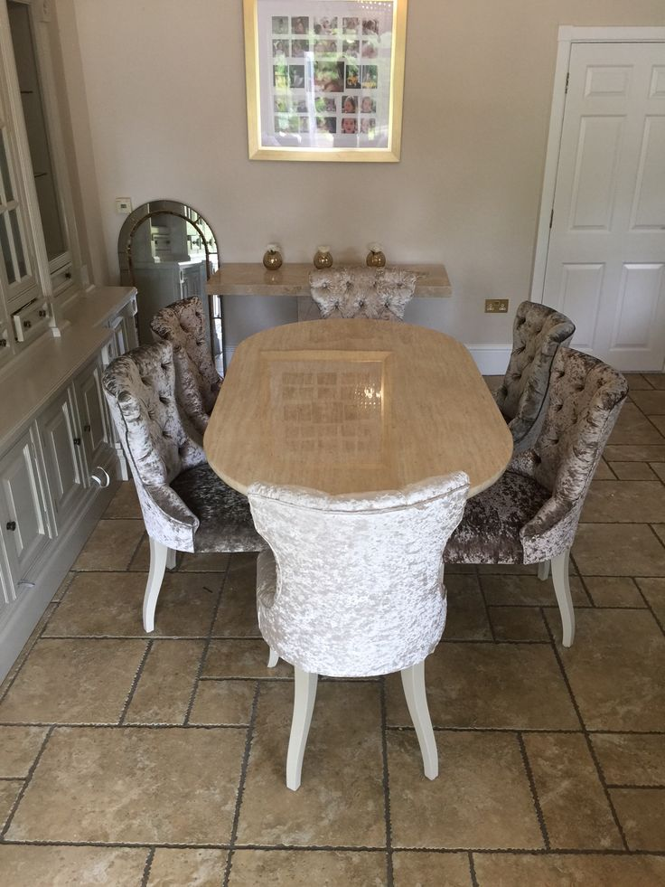 Glamorous Crushed Velvet Dining Chairs made to order from Zinc Interiors #LuxuryDiningChairs #GreyDiningChairs #CrushedVelvetDiningChairs