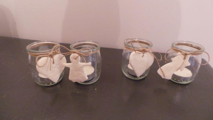 bougeoirs recyclage de pots de yaourt en verre et motifs pâte fimo faite maison By Evaba