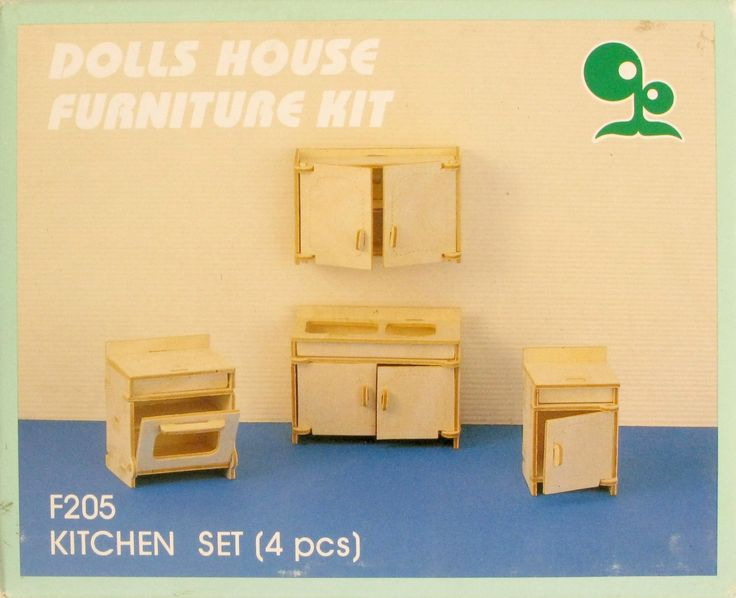 Dolls House Furniture Kit, Dolls Kitchen Set, Dolls House Kit, Wooden Dolls House Kit, Dolls, Toys and Games (F205) - pinned by pin4etsy.com