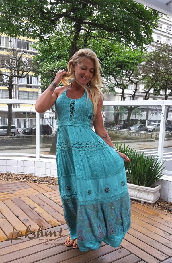 Vestido indiano longo - turquesa