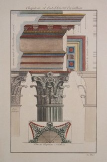 "chapiteau et entablement corinthien  italian contemporary hand coloured engraving  8 x 12"" SET of 4 $150"