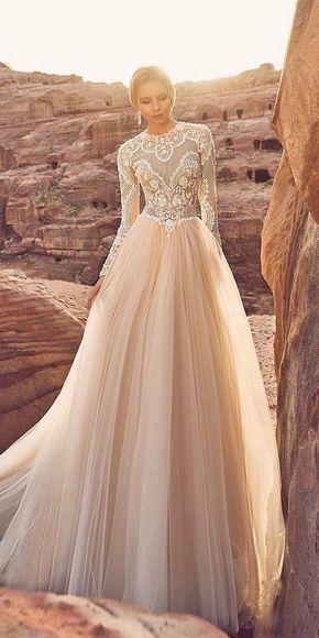 24 Peach & Blush Wedding Dresses You Must See ❤ See more: http://www.weddingforward.com/peach-blush-wedding-dresses/ #wedding #dresses #blush