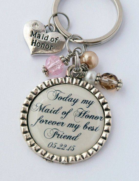 Maid of Honor Keychain, Thank You Gift for Friend, Custom Key Chain, Sentimental Quote, Wedding Party KCowie at Etsy.com