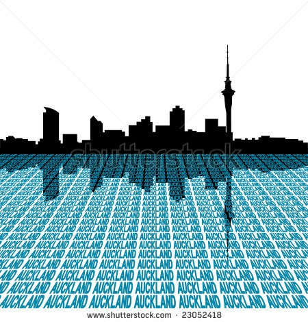stock vector : Auckland skyline with city text perspective illustration