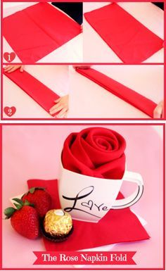 How to turn a napkin into a rose.