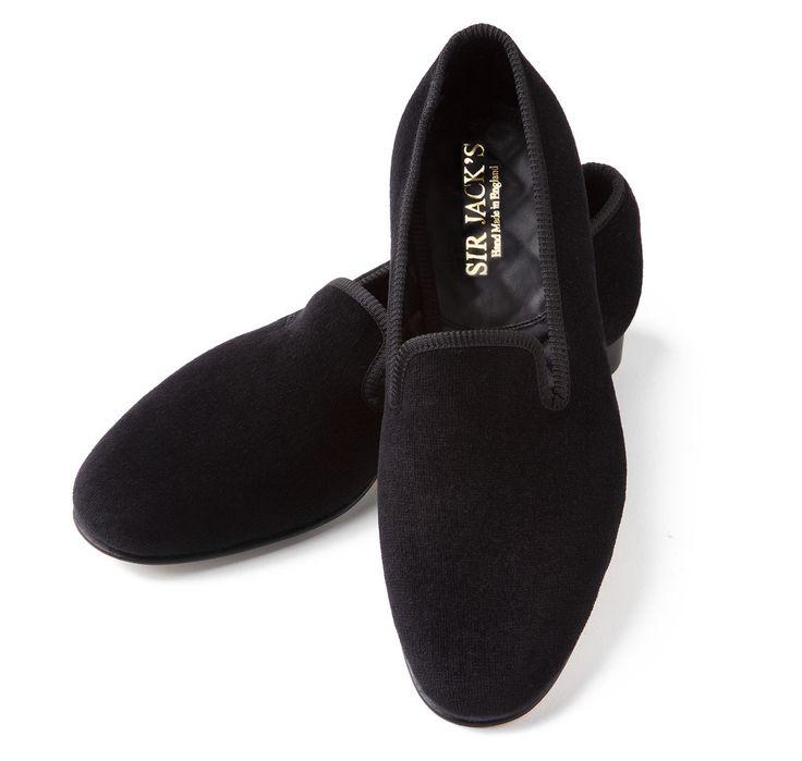 Black Albert Velvet Slippers   SIR JACK'S