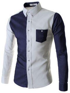 Algodón azul camisa Casual para hombres
