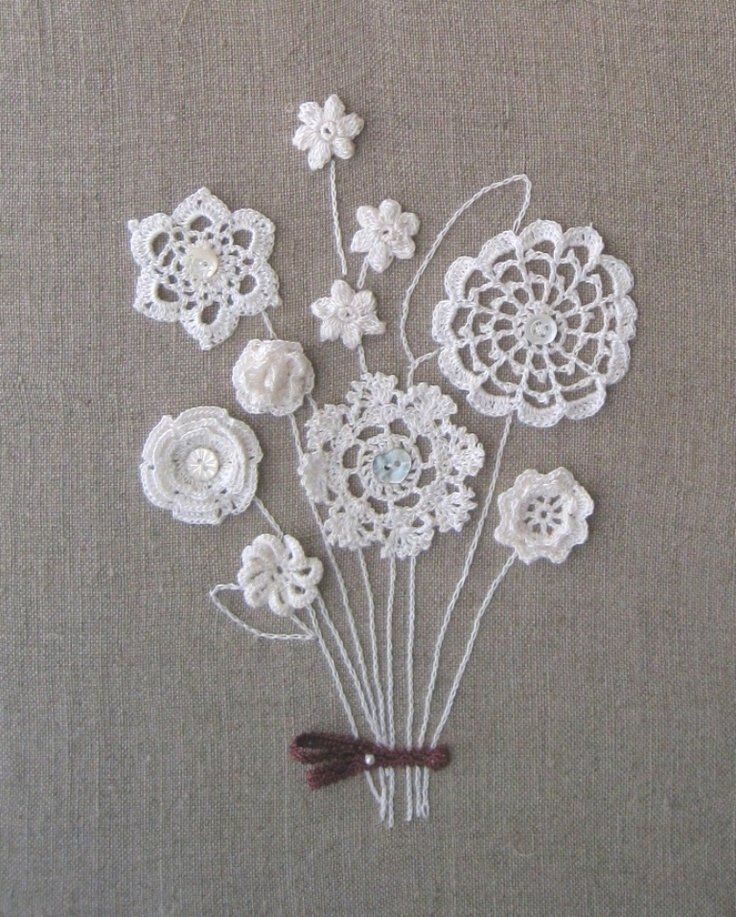 for inspiration- I never thought of using bits of crochet and tatting to make flowers- combine with embroidery and buttons