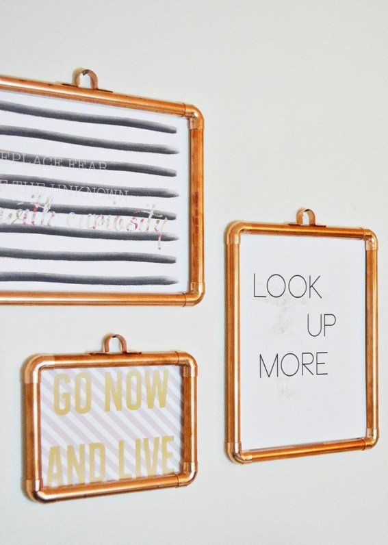 DIY Copper Frames - this would be fun to use with the peel & stick posters....easy to stick on and hang the frame over it. Then, when you're tired of the picture, just switch it out!
