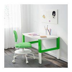 IKEA - PÅHL, Psací stůl, bílá, , Tento stůl je navržený, aby rostl s vašim dítětem, a to díky třem různým výškám.Stůl snadno nastavíte na 59, 66 nebo 72 cm.Kabely a prodlužovací zásuvky udržíte snadno uspořádané, stačí, když je umístíte do držáků na kabely mezi přední a zadní nohou stolu.