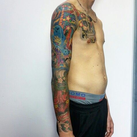 Tatuaggio giapponese,  drago hannya teschio tibetano loto