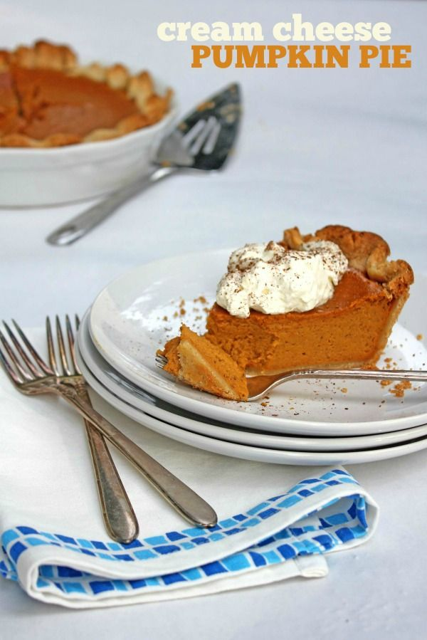 Cream Cheese Pumpkin Pie -- An ultra-creamy, easy-to-make pumpkin pie. Perfect for an upcoming holiday dinner!