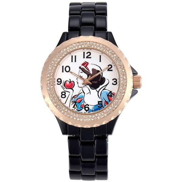 Disney Princess Snow White Women's Crystal Watch (€51) ❤ liked on Polyvore featuring jewelry, watches, black, crystal bezel watches, faux watches, bezel watches, disney jewelry and white faced watches