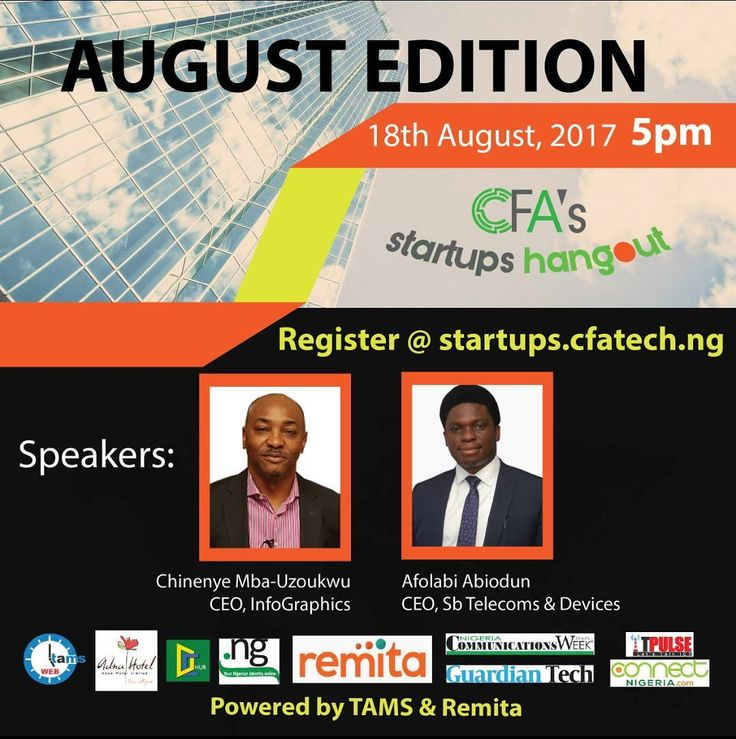 August edition of CFA's Startups Hangout featuresChinenye Mba-Uzoukwu CEO InfoGraphics Nigeria & Afolabi Abiodun CEO SB Telecoms. Grab a seat now http://j.mp/2iit1F9  Meet the Speakers  Chinenye is the founding Managing Director/CEO of multiple-award winning technology solutions provider InfoGraphics Nigeria has almost 30 years of an eclectic career spanning marketing communications digital design strategy change/transformation and software development in private and public sectors.  Afolabi…